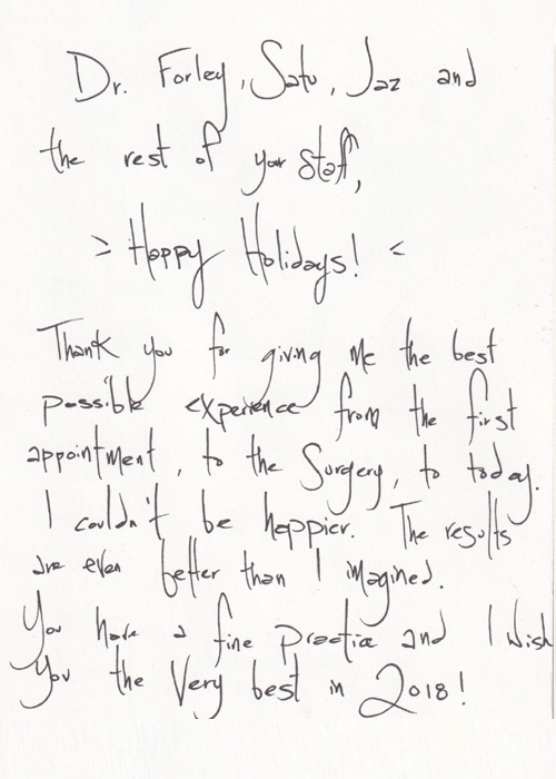 Written Testimonials: letters from Dr. Forley's - patient 1