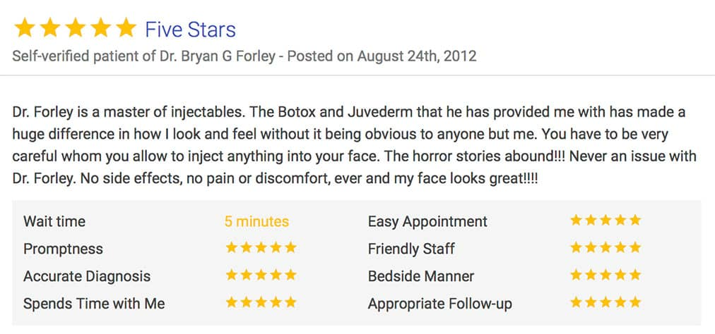 Five Stars - Self-verified patient of Dr. Bryan G Forley - Posted on August 24th, 2012