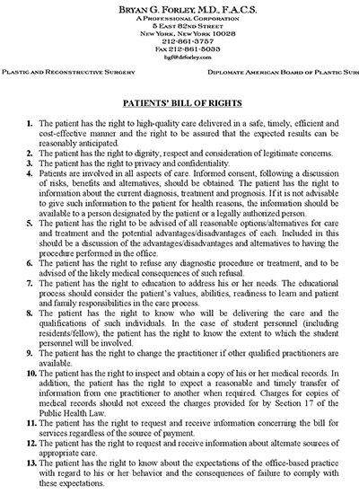 Patient Document: Bryan G. Forley, M.D., F.A.C.S - Patients' bill of rights