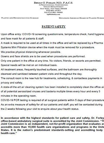 Patient Document: Bryan G. Forley, M.D., F.A.C.S - Patient Safety