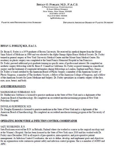 Patient Document: Bryan G. Forley, M.D., F.A.C.S - Office-MD-and-RN-Info-Sheet